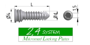Locking screw SYSTEM 2,4 HEX