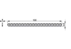 Płytka drobna 3,8 20 otworów pod wkręty Ø1,5mm