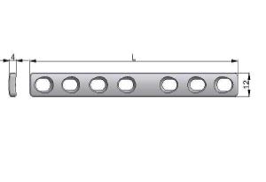 Płytka wąska samodociskowa 12,0 x 4,0mm z otworami kulistymi z ograniczonym kontaktem pod wkręty Ø4,5mm