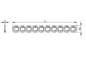 Płytka rekonstrukcyjna 10,0 x 2,0mm pod wkręty Ø3,5 i Ø4,0mm