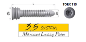 Locking screw SYSTEM 3,5 TORX